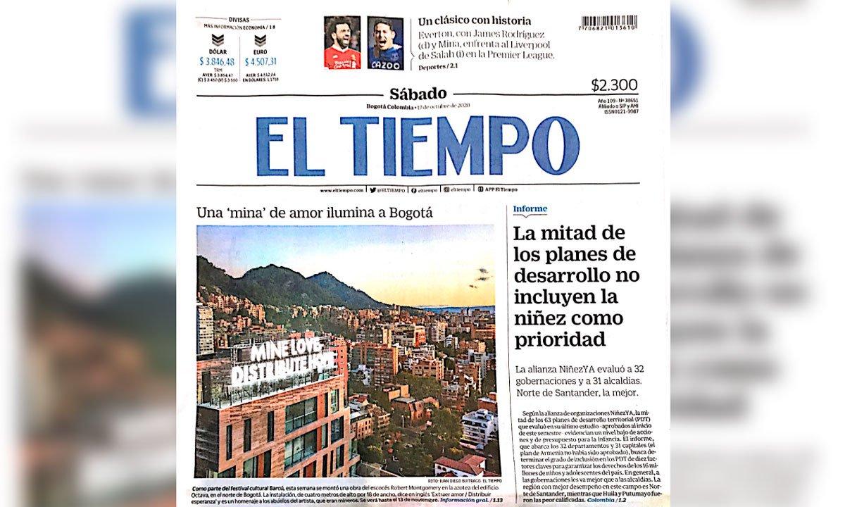 "Una ""mina"" de amor ilumina Bogotá"